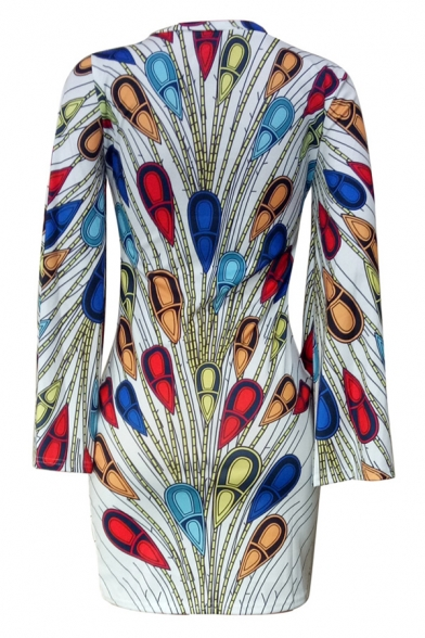 New Stylish Colorful Peacock Feather Printed Round Neck Flare Sleeve Mini Bodycon Dress