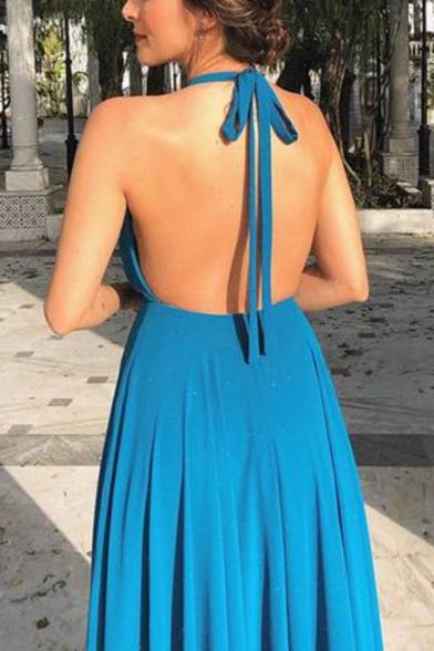 New Stylish Halter Neck Sleeveless Plain Backless Split Hem Floor Length Swing Blue Dress For Women