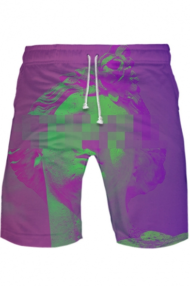 New Stylish Vaporwave Cool 3D Printed Drawstring Waist Loose Fit Athletic Shorts