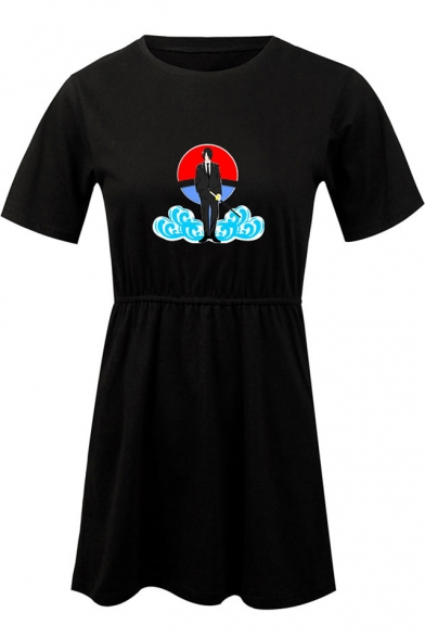 Popular Comic Character Cloud Printed Round Neck Short Sleeve Mini A-Line T-Shirt Dress