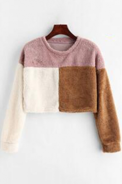 Stylish Color Block Round Neck Long Sleeve Lamb Pullover Cropped Sweatshirt