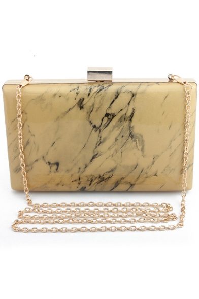 Stylish Marble Texture Printed Glossy Evening Clutch Bag 21*4*13.5 CM