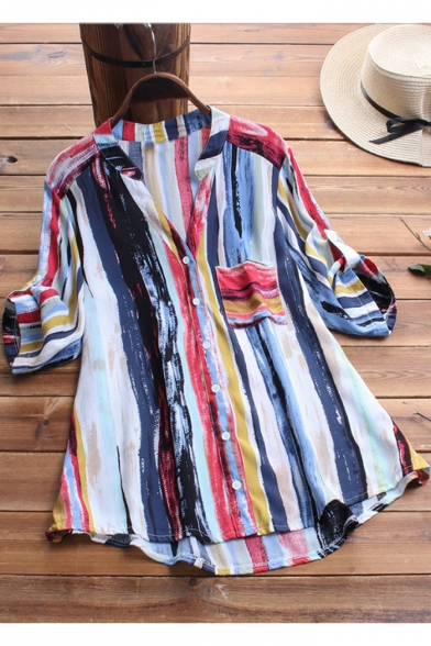 Summer Fashion Colorful Vertical Stripe Print V-Neck Half Sleeve Loose Fit Button Down Shirt