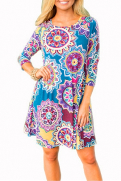 Summer Fashion Ethnic Style Tribal Printed Round Neck Three-Quarter Sleeve Mini Swing Dress