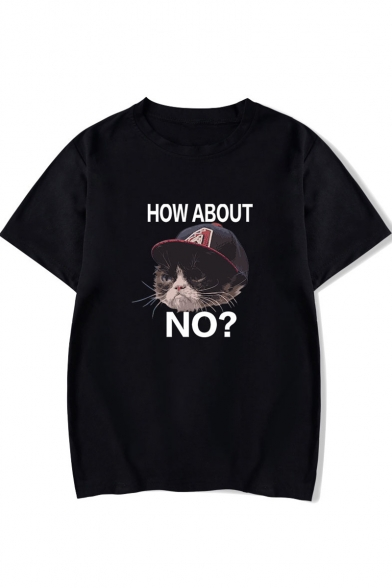 Summer Funny Letter HOW ABOUT NO Cartoon Grumpy Cat Print Short Sleeve Unisex T-Shirt