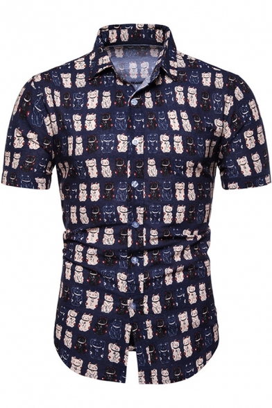 Summer Mens Funny Cute Allover Cat Printed Short Sleeve Slim Fitted Button Up Shirt Beautifulhalo Com