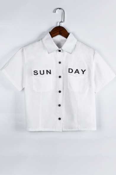 Summer New Stylish Letter SUN DAY Pocket Front Short Sleeve Button Down White Crop Shirt