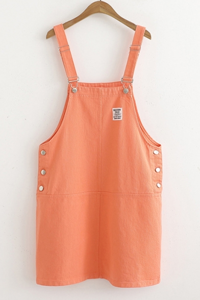Summer Simple Letter Patched Solid Color Mini Denim Overall Dress for Girls