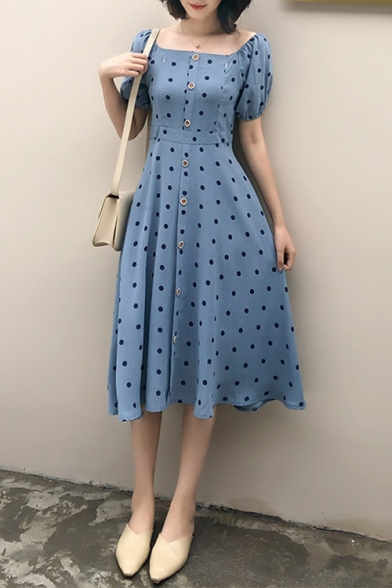 Summer Vintage Blue Polka Dot Printed Square Neck Puff Sleeve Button Front Midi A-Line Dress
