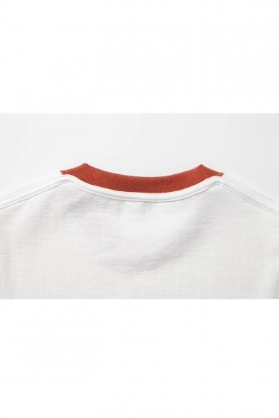 Summer Vintage Contrast Trim Basic Round Neck Short Sleeve Loose Fit T-Shirt