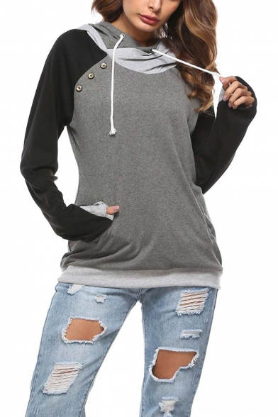Trendy Color Block Simple Solid Color Button Embellished Long Sleeve Drawstring Hoodie