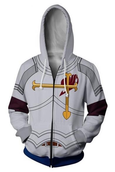 Trendy Comic Cosplay Costume 3D Printed Long Sleeve Zip Up Grey Casual Loose Hoodie