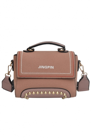 Trendy Letter JINGPIN Print Wide Strap River Embellishment Frosted Shoulder Satchel Bag 20*14*10 CM
