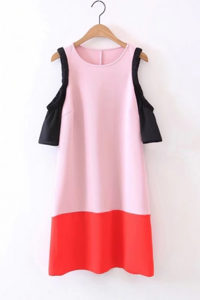 Trendy Round Neck Cold Shoulder Color Block Midi Casual Swing Dress