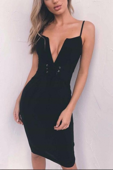 Trendy Simple Plain Eyelet Lace-Up V-Neck Sleeveless Zipper Split Back Bodycon Cami Dress for Women