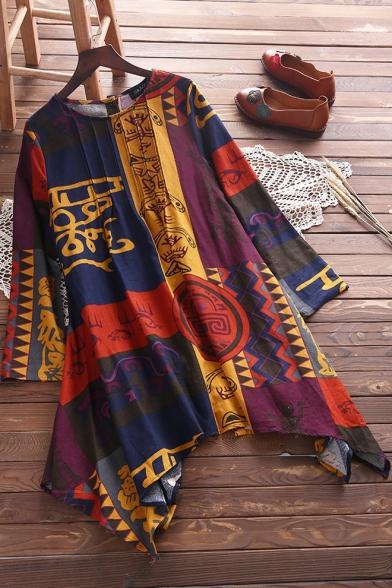 Women's Hot Sale Round Neck Long Sleeve Tribal Print Loose Mini Asymmetric Hem Dress