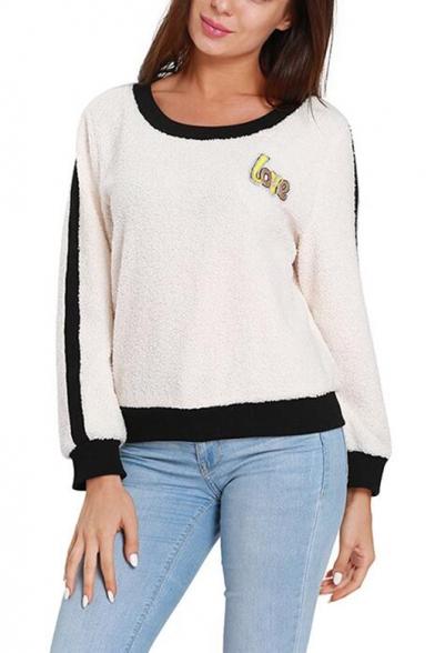 Women's LOVE Printed Badge Contrast Hem Round Neck Long Sleeve White Sweatshirt