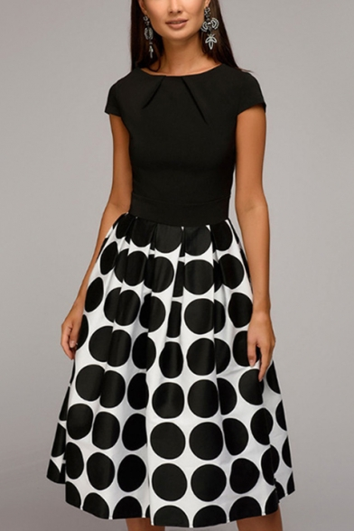 Women's New Stylish Polka Dot Short Sleeve Round Neck Midi A-Line Dress