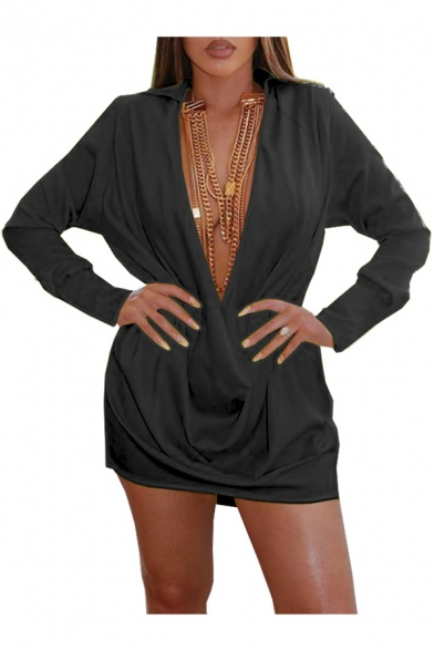 Women's New Trendy Plain Long Sleeve Lapel Collar Plunge Neck Mini A-Line Dress