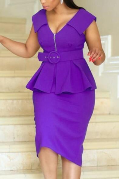 Women's V Neck Sleeveless Plain Zip Front Belt Waist Ruffle Fake Two Pieces Midi Peplum Pencil Dress