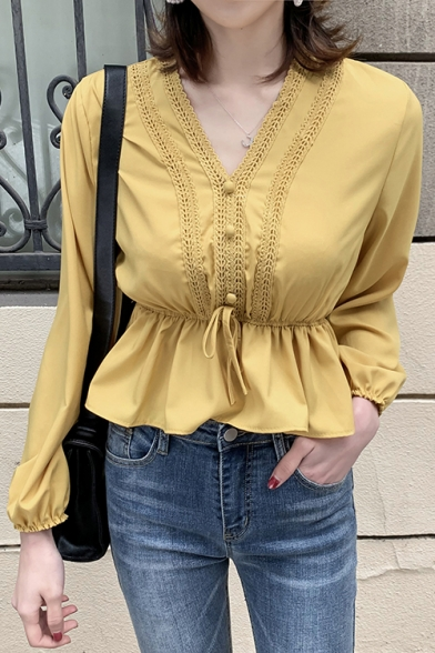Womens Chic V-Neck Long Sleeve Gathered Waist Ruffled Plain Blouse Top