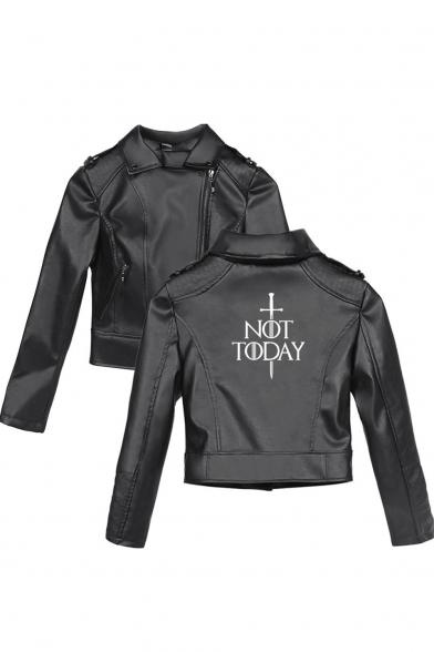 Womens Cool Simple Sword Letter NOT TODAY Pattern Zipper Front Long Sleeve Black Cropped PU Biker Jacket