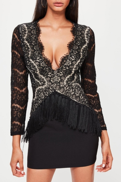 Womens Sexy Lace-Trimmed Plunging Neck Long Sleeve Tassel Hem Mini Black Bodycon Dress