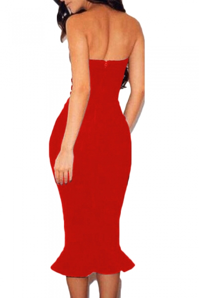 Womens Sexy Off the Shoulder Strapless Zipper Back Ruffled Hem Midi Bodycon Bandeau Club Dress