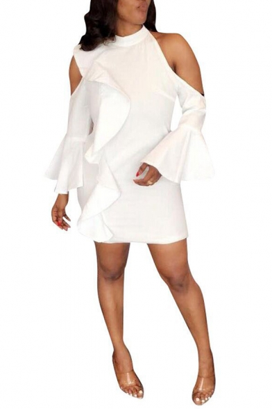 Womens Simple Plain Cold Shoulder Flared Sleeve Mini White Sheath Dress