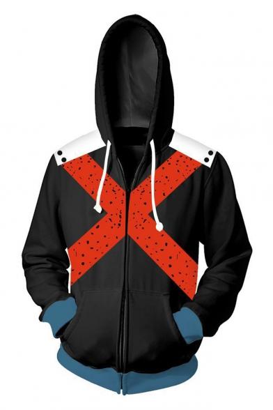 3D Colorblocked Comic Letter X Printed Cosplay Costume Long Sleeve Black Zip Up Hoodie