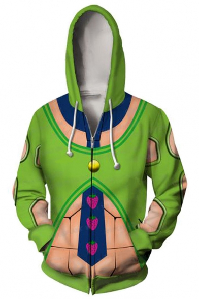 3D Strawberry Pattern Comic Cosplay Costume Long Sleeve Zip Up Sport Green Hoodie