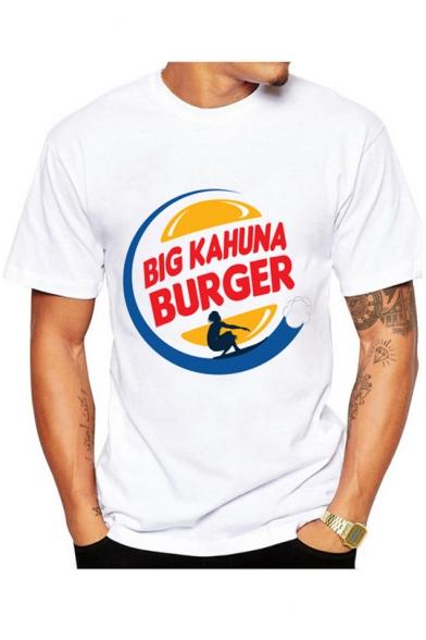 Big Kahuna Burger Letter Figure Printed Round Neck Short Sleeve White T-Shirt