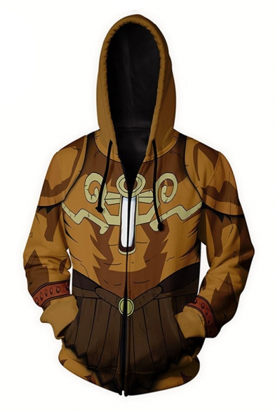 Brown Comic Cosplay Costume Long Sleeve Zip Up Relaxed Fit Drawstring Hoodie