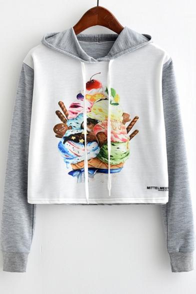 Cartoon Cake Printed Colorblock Long Sleeve Drawstring Hoodie