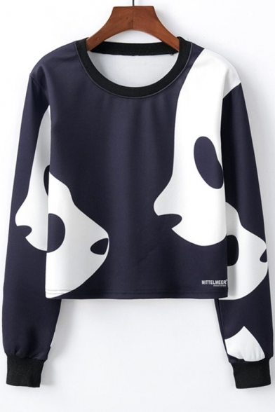 Cool Unique Cartoon Panda Printed Round Neck Long Sleeve Navy Cropped Sweatshirt