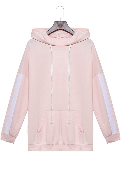 Girls Fashion Colorblock Patched Long Sleeve Pink Loose Relaxed Hoodie