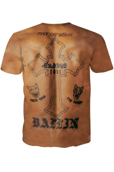 Guys Cool Letter Thug Life Tattoo 3d Muscle Pattern Round Neck Short Sleeve Slim T Shirt Beautifulhalo Com