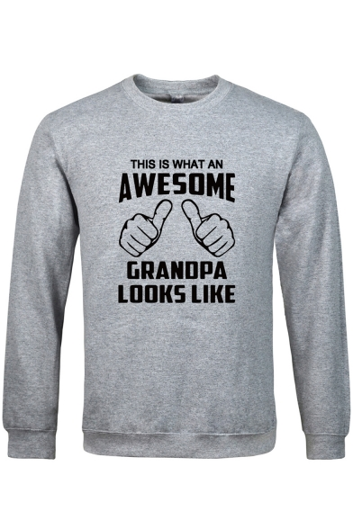 Guys Fashion Gesture Letter AWESOME Graphic Printed Long Sleeve Classic Fit Sweatshirt