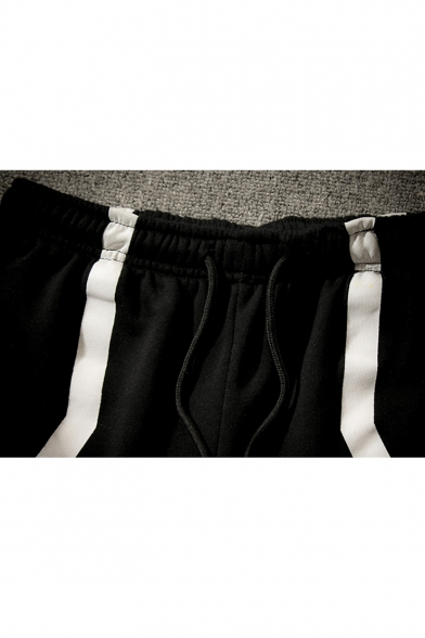 Guys Street Fashion Hip Hop Style Colorblock Layered Patch Fake Two-Piece Black Sport Dance Pants