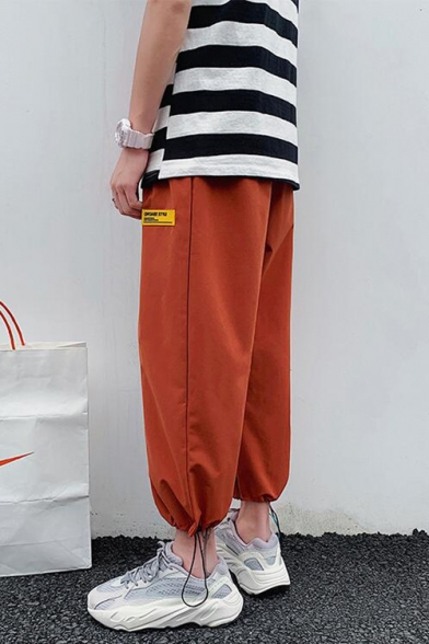 Guys Summer Fashion Letter Patched Unique Drawcord Cuff Casual Loose Bloomers Pants