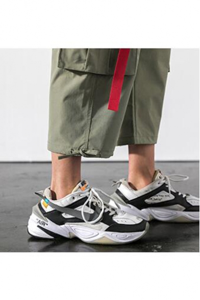 Guys Summer New Trendy Drawstring Waist Letter Ribbon Cropped Casual Cargo Pants Trousers