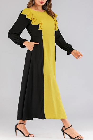 Hot Fashion Round Neck Long Sleeve Colorblock Printed Ruffle Detail Maxi Yellow Dress