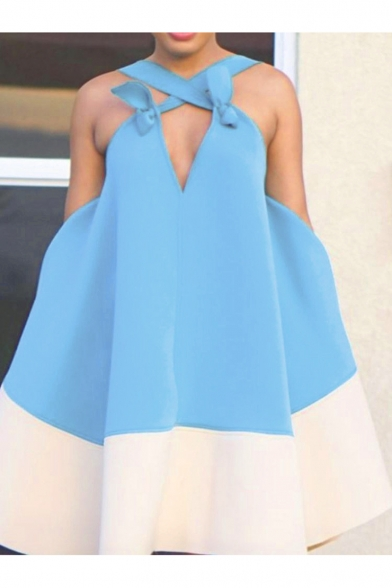 Hot Fashion Sleeveless Crisscross Plunge Neck Plain Backless Mini Swing Light Blue Dress For Women