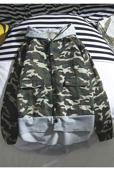 Men's Fashion Green Camo Pattern Patched Hooded Long Sleeve Button Down Coat