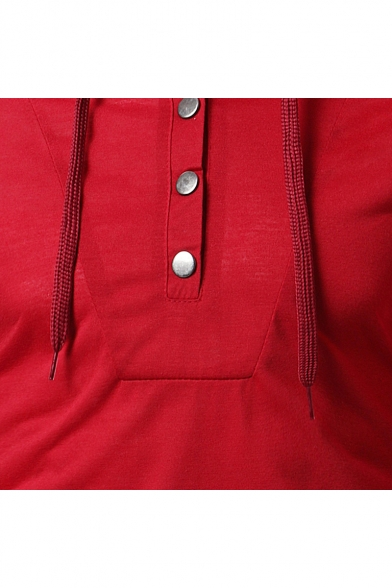 Men's New Trendy Simple Plain Long Sleeve Button Detail Casual Drawstring Hoodie