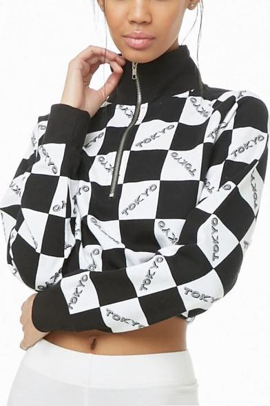 New Stylish Plaid TOKYO Letter Print Half-Zip Front High Neck Long Sleeve Black Cropped Sweatshirt