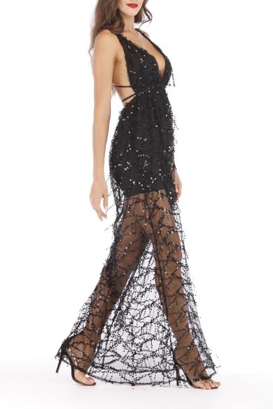 New Stylish Plunge Neck Sleeveless Plain Mesh Sequined Detai Backless Floor Length Slip Dress