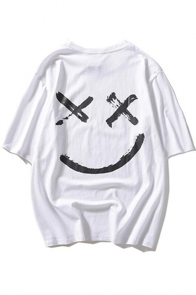 Popular Smile Face Pattern Round Neck Unisex Casual Oversized T-Shirt