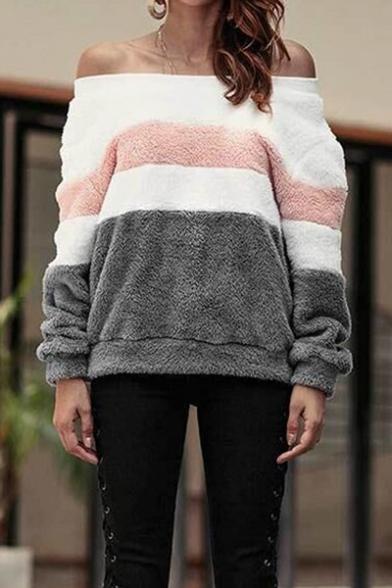 Sexy Color Block Off the Shoulder Long Sleeve Fluffy Fleece Sweatshirt