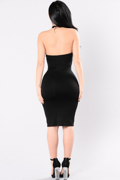 Sexy Solid Color Black Halter Sleeveless Cut Out Lace Up Open Back Midi Bodycon Dress